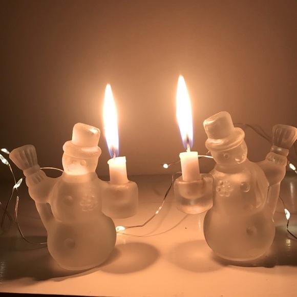 2 glass snowmen